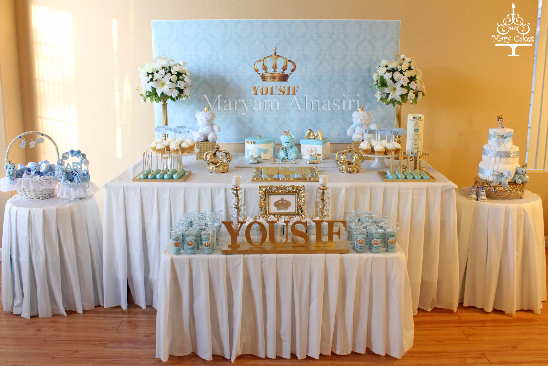 Royal baby blue & Gold bear theme